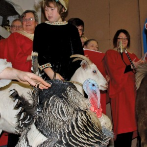 Blake Van Massenhoven, dressed as a wise man, escorts the family's goat and turkey onto the stage during the performance of Back to the Manger held in the family's machine shed November 30.