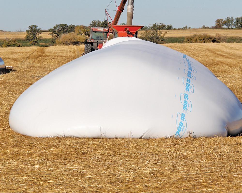 Grain bags are increasingly popular for surge grain storage.