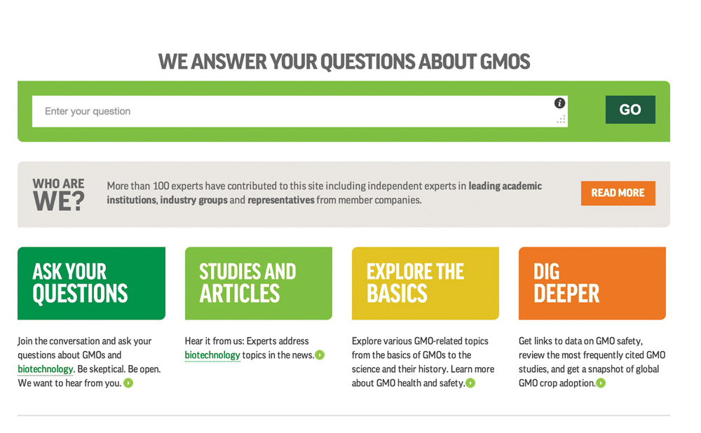 Wager recommends gmoanswers.com as a reliable online resource that offers a number of well-balanced answers to common questions about GMOs.