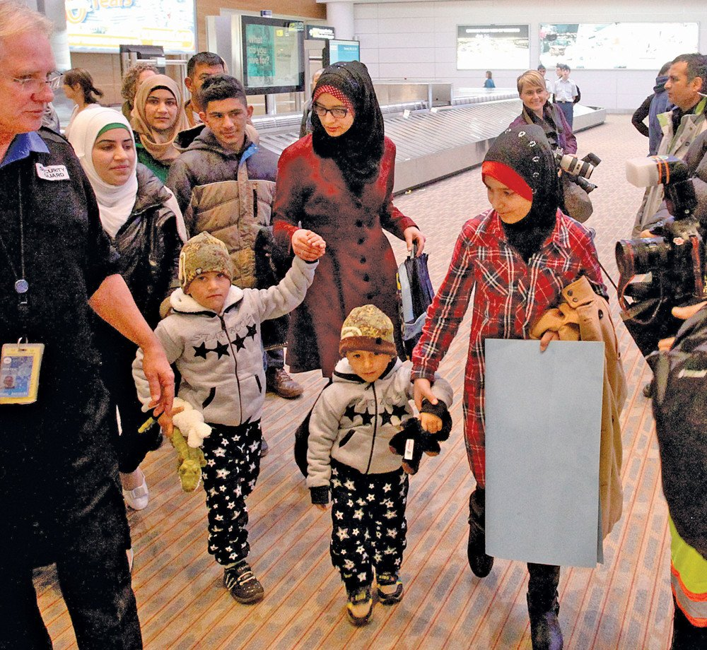 The Daas family arrives in Winnipeg after fleeing their home in Syria more than three years ago. They were greeted by a drum group, well-wishers, officials and volunteers from the Altona-based charity that sponsored them.