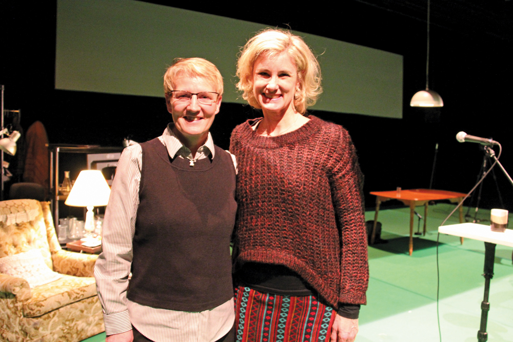 """Monsanto Canada's Trish Jordan (l) and actor Carey Lawrence who plays Jordan in """"Seeds,"""" a play about Percy Schmeiser's battle with Monsanto over patent infringement on at Winnipeg's Prairie Theatre Exchange until Feb. 28."""