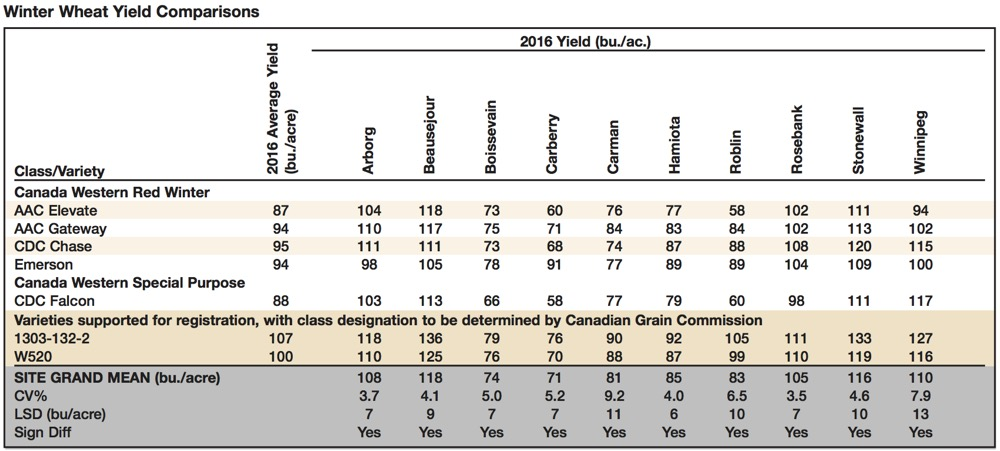 winter wheat yield comparisons
