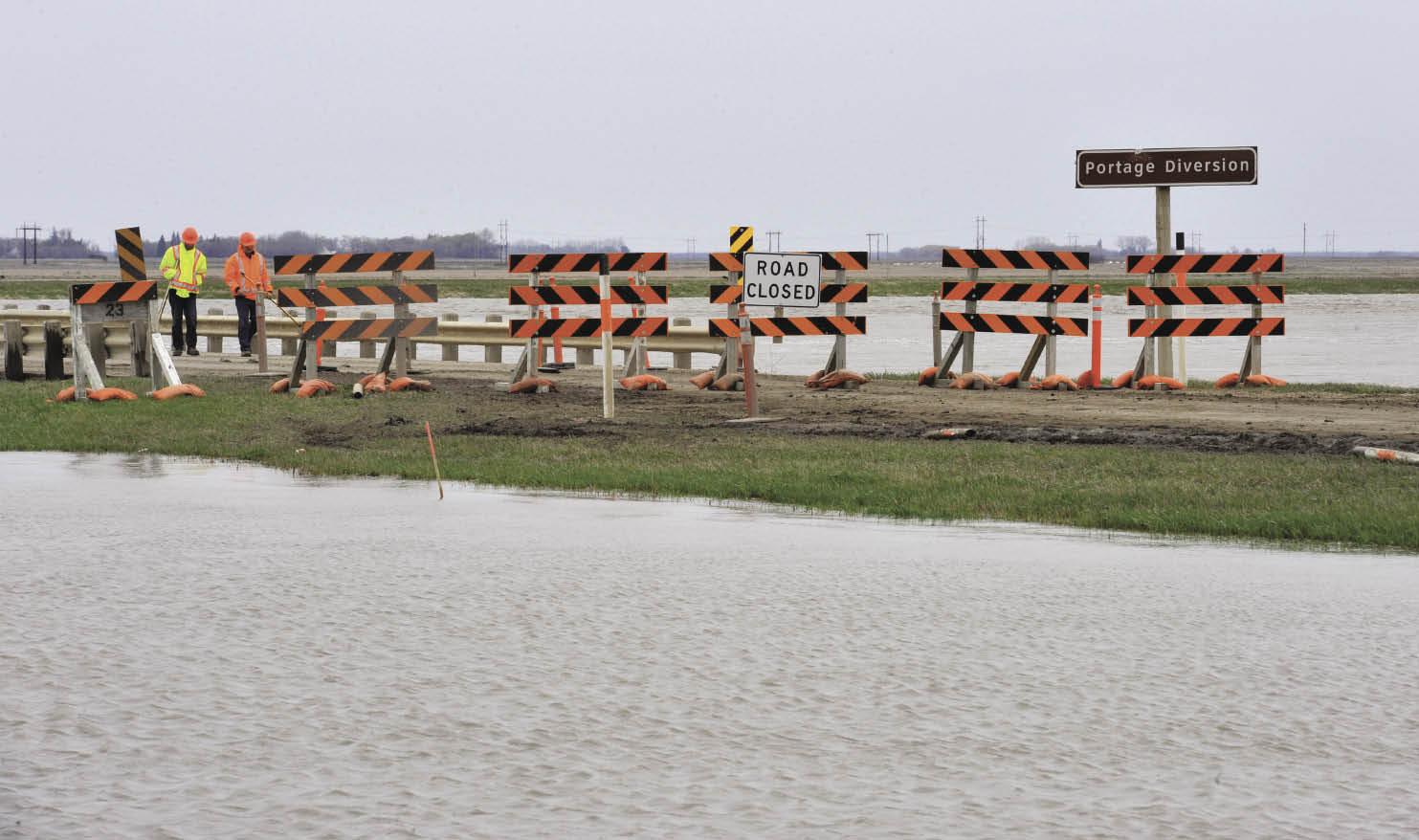 Flooding at Portage diversion in Manitoba.