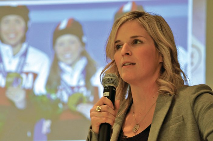 Olympic curler, Jennifer Jones speaking at conference