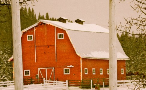 red barn in the wintertime