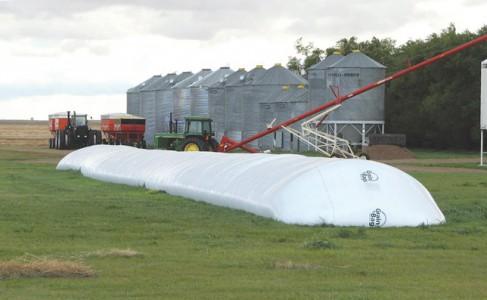 grain bags on a farm