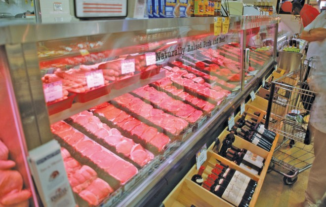 meat counter in a grocery store