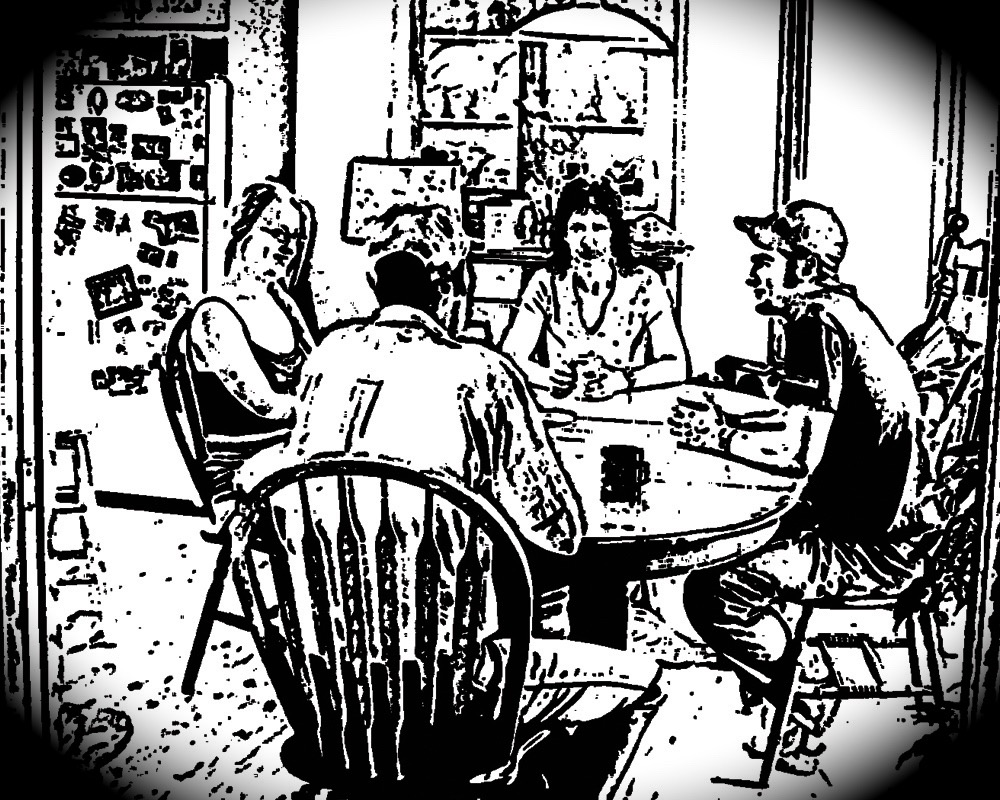 cartoon image of a family seated at a table