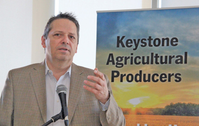 John De Pape discussed the cash grain price service he is working on for the Alberta Wheat Commission during the Keystone Agricultural Producers' General Council meeting in April.