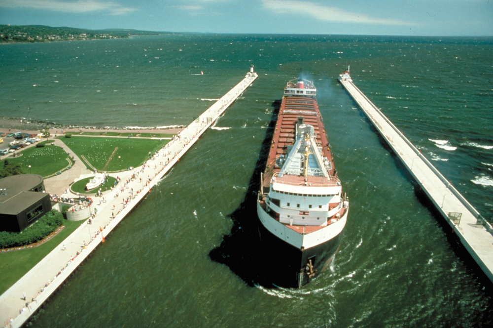 A Canadian Steamship Lines lake freighter entering Duluth Ship Canal at Duluth, Minnesota.