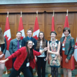 Accompanied by their chaperon Tracy Claeys, (far right), Manitoba delegate Amber Dyrda (front) and Christine Kilpatrick (l to r), Luke Weidenhamer, 