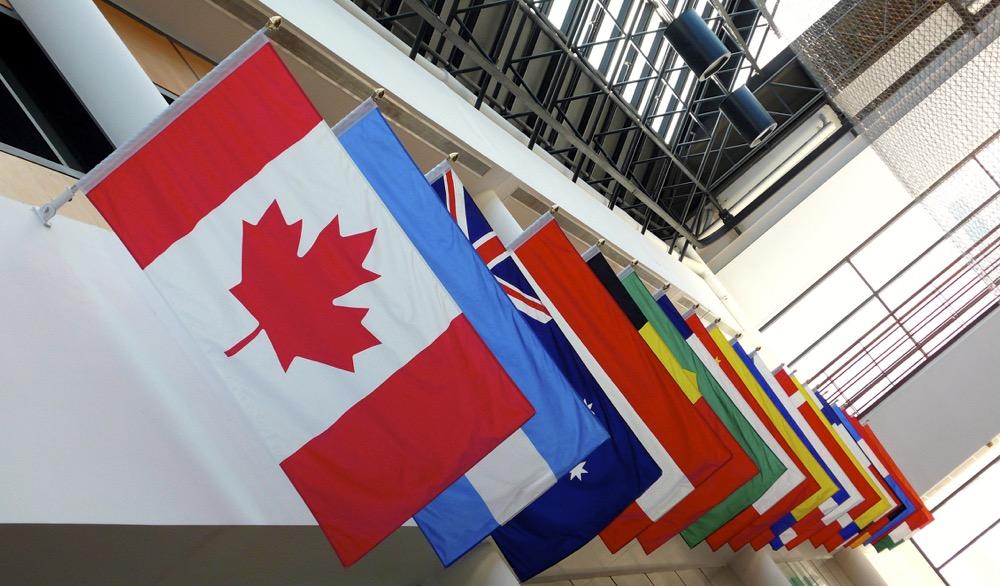 Various hanging international flags.