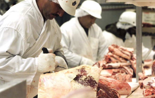 Workers bone and cut beef at a meat packing plant in Toronto, May 22, 2003. Work continues at the plant despite several countries placing a temporary ban on Canadian beef after a case of Mad Cow disease was discovered on an Alberta farm.