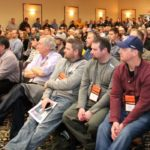 "It was standing room only for some of the breakout sessions at CropConnect 2017 at the Victoria Inn and Convention Centre in Winnipeg Feb. 15 and 16, including when the University of Minnesota's Seth Naeve spoke about intensive soybean management Feb. 15. Between 1,500 and 1,600 people attended CropConnect last week, including 100 'walk ups' co-chair Roberta Galbraith of the Manitoba Canola Growers Association said Feb. 17 in an interview. ""And yes it was packed,"" she said. That has organizers wondering about the future of the event, which the commodity groups involved — canola, corn, pulse/soybeans, flax, sunflower, oat, seed growers and wheat/barley — will discuss, Galbraith said. The first step will be to cap registrations. ""We are at capacity that is for sure,"" she said. ""We are looking at options, however we have made no decision to move the show as of yet. The Victoria Inn facility and staff are fantastic to work with and so responsive to conference staff requests and this is definitely a plus for the event."" It cost $75 a day to attend CropConnect this year, but the cost would be double without funding from the participating commodity groups, Galbraith said. Sponsors and trade show participants also help fund CropConnect, she said."
