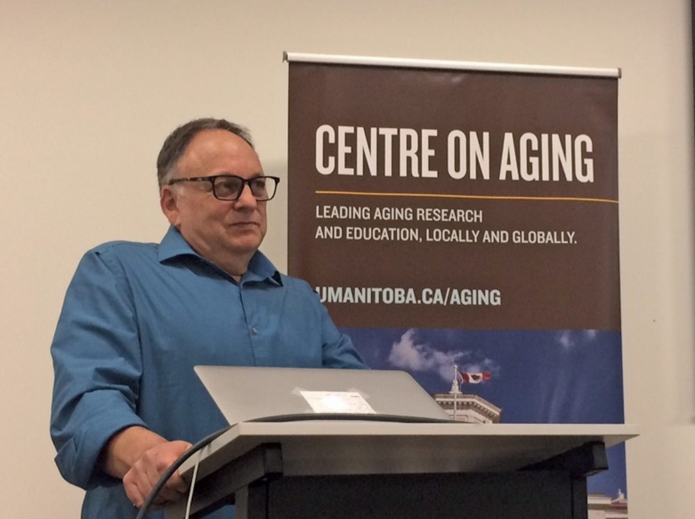 University of Manitoba associate professor Richard Milgrom spoke on aging in rural Manitoba during a Centre on Aging seminar.
