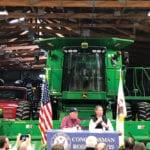 U.S. Agriculture Secretary Sonny Perdue (l) and U.S. Representative Rodney Davis of Illinois take farmers' questions at a farm in Champaign, Illinois October 24, 2018.