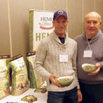 Lyall Bates (l ) and Keith Watson (r) display a sample of the hemp fibre produced by Hemp Sense during the recent Canadian Hemp Trade Alliance conference in Winnipeg.