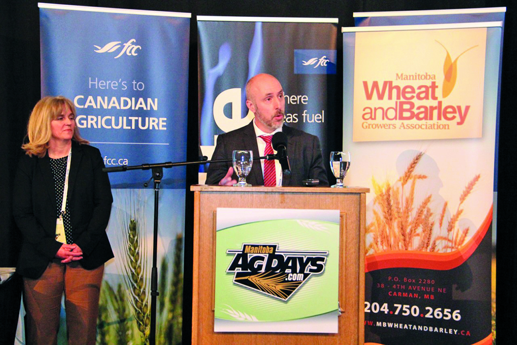 Plant Breeders' Rights Commissioner Anthony Parker (r) and Carla St. Croix, Agriculture and Agri-Food Canada's director of the Innovation and Growth Policy Division spoke about royalty proposals at Ad Days in Brandon Jan. 23.