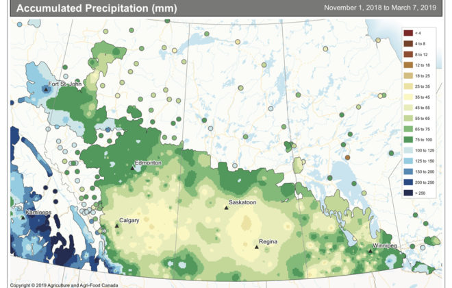 This map shows the total amount of precipitation that has accumulated across the Prairies so far this winter, representing approximately how much water is available in the current snow pack. Amounts range between 50 and 100 mm of water across most regions, with the wettest area found across eastern regions.