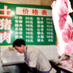 Fresh meat for sale at a grocery market in the city of Zunyi, in China's Guizhou province. The country's pig farming industry is undergoing a second crisis in a decade, this time caused by African swine fever.