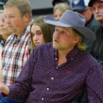 Dakota Sorensen of Eddystone (right) expresses his concern during a public meeting on Crown land lease changes in Ste. Rose du Lac Oct. 15.