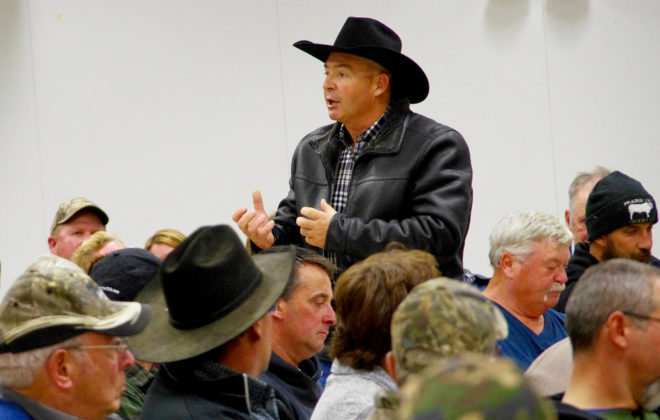 Manitoba Beef Producers president Tom Teichroeb addressed worries on Agricultural Crown Land changes, and what MBP will do about them, during a packed lease holders' meeting in Ste. Rose du Lac Oct. 2, 2019.