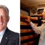 Manitoba agriculture minister Blaine Pedersen (l) said Loaf and Honey's raw milk cheese-making process does not consistently produce a safe product. Dustin Peltier (r), seen here inside his cheese storage room, along with partner Rachel Isaak have decided to forgo any further attempts to comply due to financial burden.