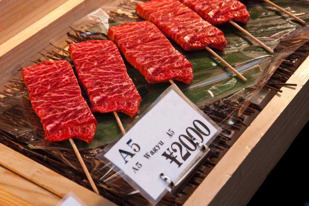 Wagyu beef on skewers at a Tokyo market. (Michal_Staniewski/iStock/Getty Images)