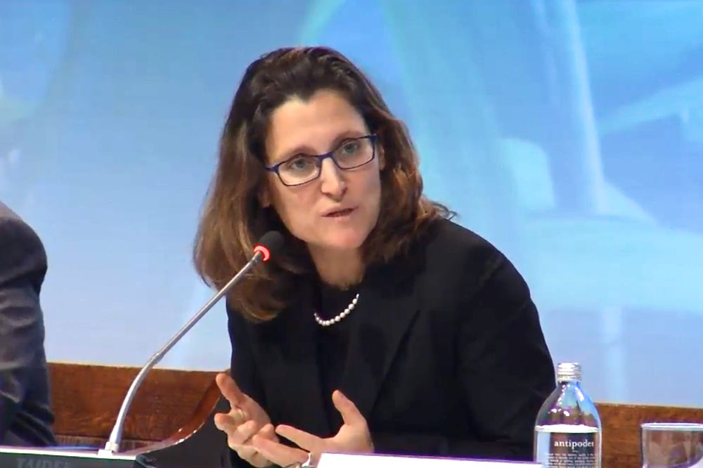 Trade Minister Chrystia Freeland, at the news conference for the TPP's signing in Auckland, explains Canada's plans for public consultations and parliamentary hearings on the deal. (New Zealand Ministry of Foreign Affairs and Trade via YouTube)