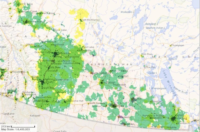 The CRTC's map of broadband internet availability in the Prairie provinces, at the end of 2014. Green areas denote fixed wireless service; yellow denotes LTE; purple and blue denote cable and DSL/fibre connections respectively. (CRTC.gc.ca)