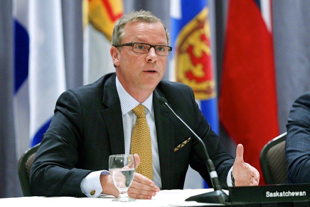 Saskatchewan Premier Brad Wall speaks during a news conference in Quebec in 2015.  Photo: Reuters/Mathieu Belanger