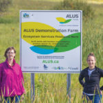 ALUS Little Saskatchewan River program co-ordinator Colleen Cuvelier (left), and ALUS Canada's Prairie hub manager, Paige Englot (right), on an ALUS project site in Manitoba.