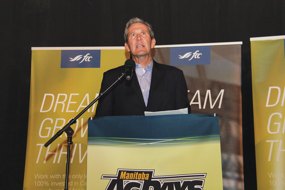 Premier Brian Pallister speaks to producers at Manitoba Ag Days, January 21.