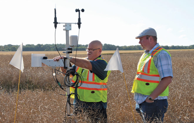 Guy Ash demonstrates how weather station data is used to help inform production decisions.
