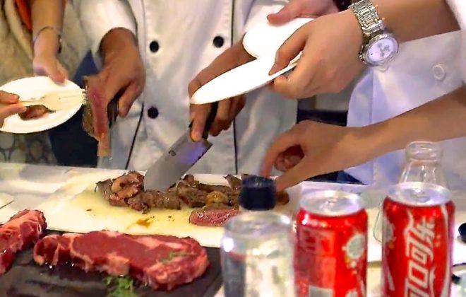 Taste-testing during a Canadian Beef Advantage Seminar in Shanghai in 2013. (Canada Beef via YouTube)