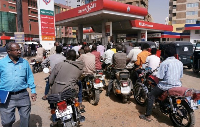 Motorcyclists queue for fuel at a station in Khartoum on Feb. 10, 2020.(Photo: Reuters/Mohamed Nureldin Abdallah)