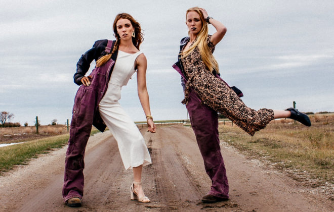 Stefanie (left) and Cassandra (right) Lepp embrace the seeming dichotomy between fashion and farming in this photo, posted to Instagram.