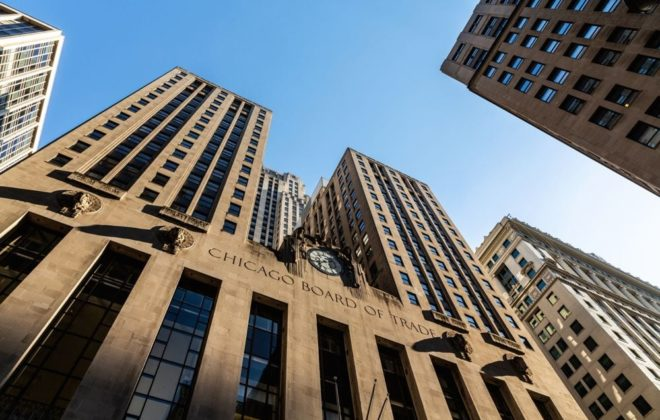 The Chicago Board of Trade building on May 28, 2018. (Harmantasdc/iStock Editorial/Getty Images)