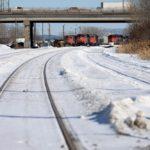 CN locomotives are seen on track near a railway blockade at St-Lambert, Que. on Feb. 20, 2020. (Photo: Reuters/Christinne Muschi)