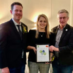 Andre and Katie Steppler of Miami receive this year's Manitoba Outstanding Young Farmer award from Manitoba Agriculture and Resource Development Minister Blaine Pedersen (right) in Brandon March 7, 2020.