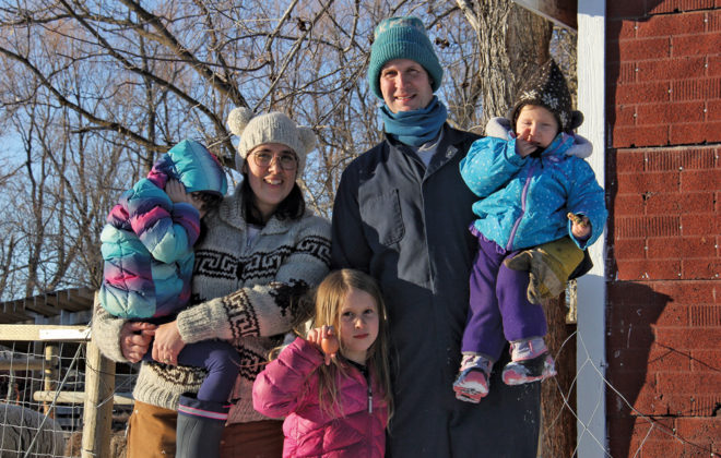 Joey Fiola and Christel Lanthier and their three daughters, Olivia (6), Anne Rose (4) and Lila (1).