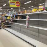 An empty flour shelf in a Steinbach grocery store.