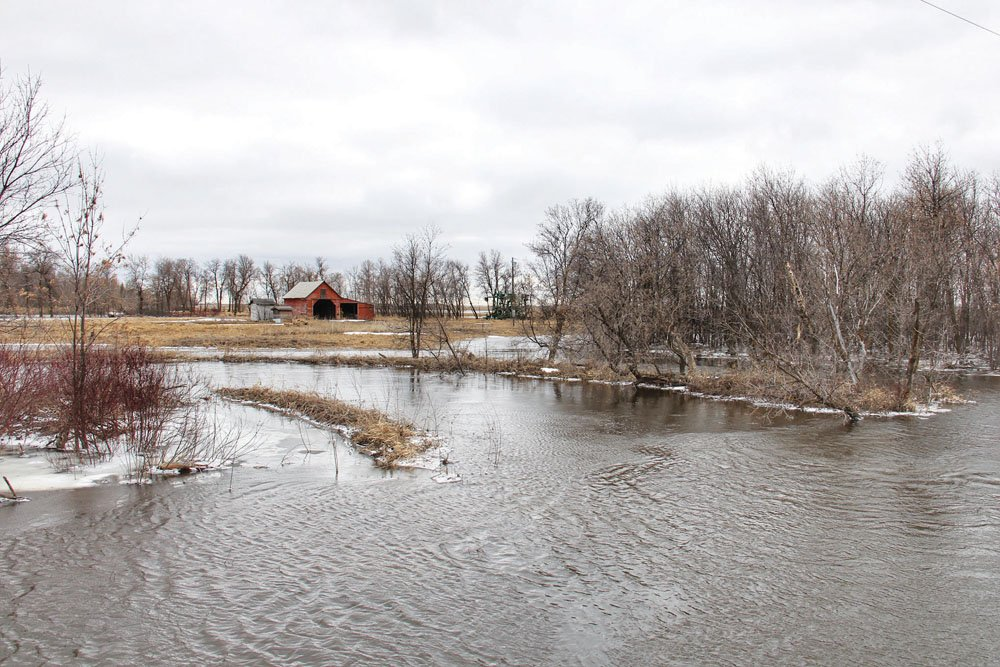Flooding along the Rat River near La Rochelle in southeastern Manitoba.