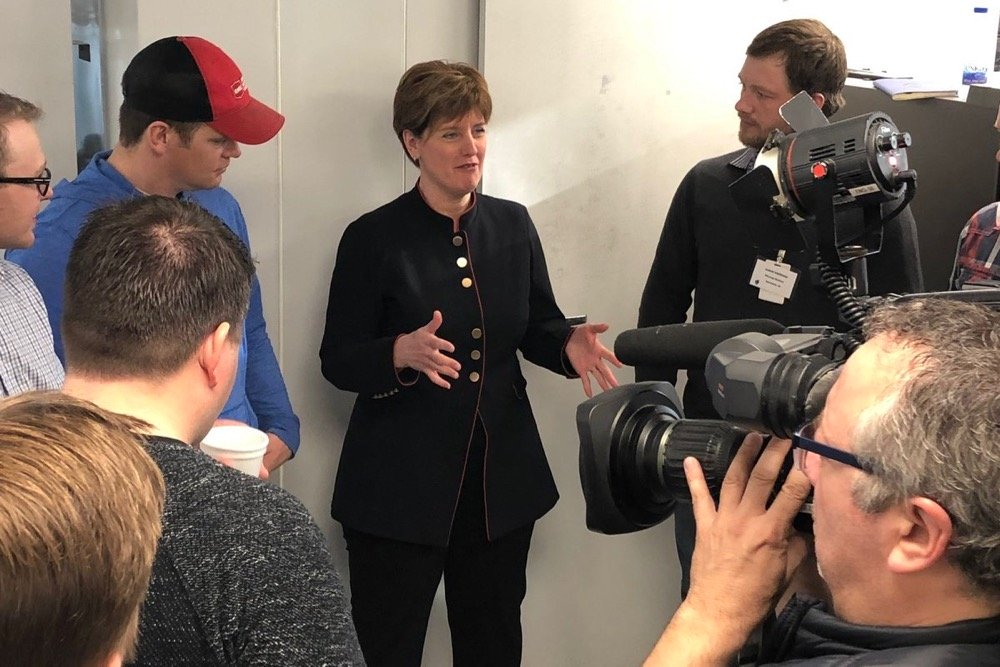 Ag Minister Marie-Claude Bibeau speaks at Cigi in Winnipeg on March 13, 2019. (Dave Bedard photo)