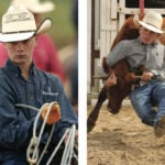 Fifteen-year-old Ty solely competes in team roping (l), while his younger brother Lane is a five-event junior high cowboy, shown here wrangling a steer in chute dogging.