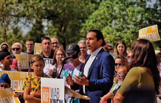 Wab Kinew at a recent press event.