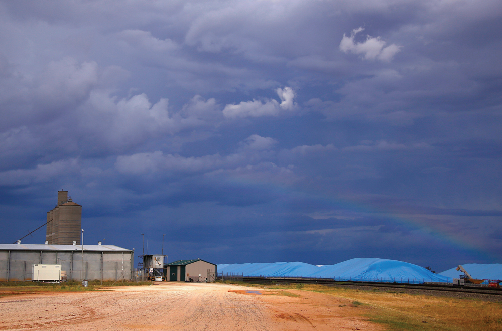 Piles of harvested wheat are covered with plastic sheets near the depot for GrainCorp, Australia's largest listed bulk grain handler, located in the New South Wales town of Burren Junction, in this file photo.