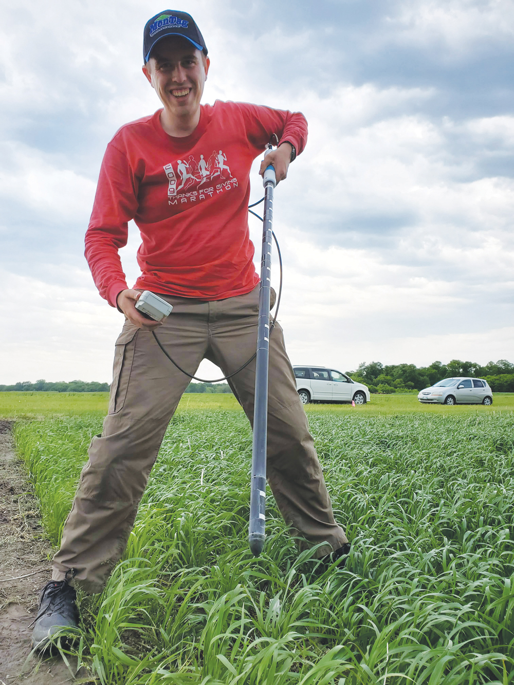 U of M student Calum Morrison, along with Professor Yvonne Lawley, are digging into cover crop use on the Prairies in an ongoing survey.