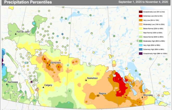 prairies precipitation percentile
