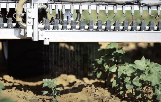 "You need to look closely but this still from a Blue River Technology video shows ""robotic nozzles"" drenching a weed with a herbicide while leaving the adjacent cotton plants untouched."